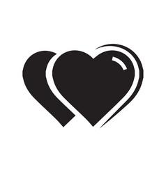 2 heart icon black color vector