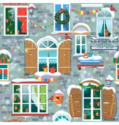 Seamless pattern with decorative windows in winter vector