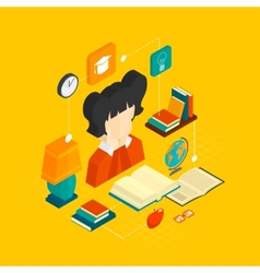 Reading concept isometric vector