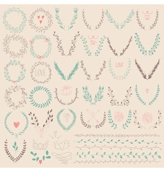 Set of laurel floral wreaths and frames vector