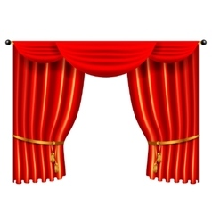3d red luxury silk curtain realistic interior vector image vector image