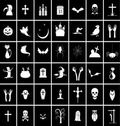 42 halloween icons vector image