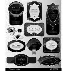 Black gold labels vector