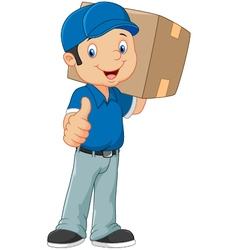 Cartoon postman gives thumb up vector