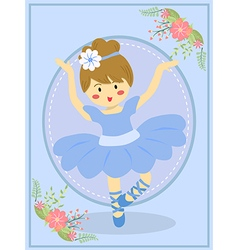 Cute blue ballerina girl vector