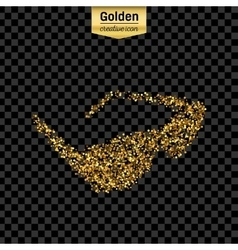 Gold glitter icon of sun glasses isolated vector image