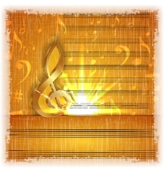 Musical background with a gold treble clef vector