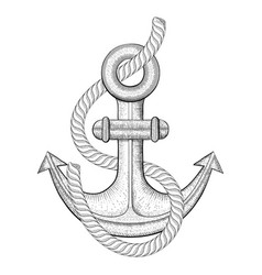Anchor with rope hand drawn sketch vector