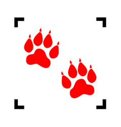 animal tracks sign red icon inside black vector image