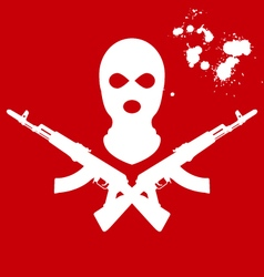 Balaclava and two crossed AK-47 terrorists mask vector image