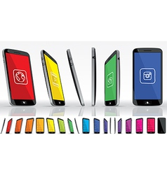 Black smart phone multiple views vector