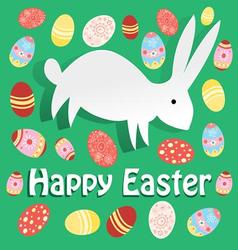Bright easter card with rabbit on a green vector
