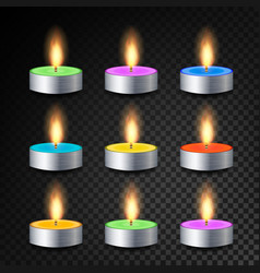 burning 3d realistic dinner candles vector image vector image