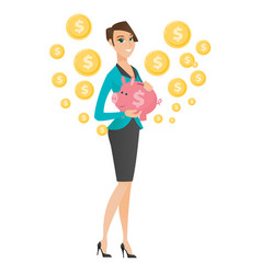 Caucasian business woman holding a piggy bank vector