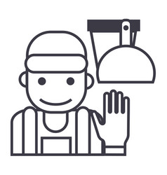 cleaning service line icon vector image vector image