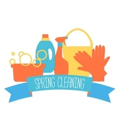 Flat design logo for cleaning service vector image