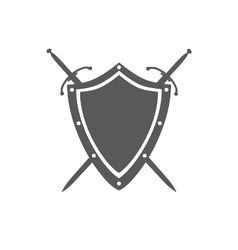 Gray shield and two crossed swords under it vector image