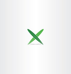 green leaf letter x logo element icon vector image vector image