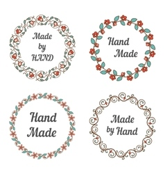 Handmade labels with wreaths vector image vector image