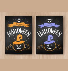 happy halloween postcards color chalked designs vector image vector image
