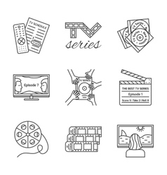 Isolated tv series thin lined outlined icons set vector
