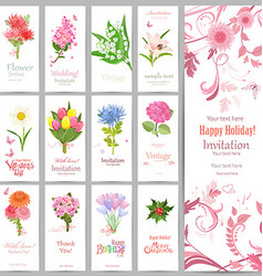 romantic collection of banners with graceful vector image vector image