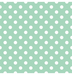 Seamless white polka dots pattern mint background vector image