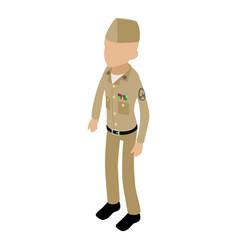 soldier retro icon isometric 3d style vector image