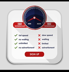 Speed meter with slow and fast download or upload vector image vector image