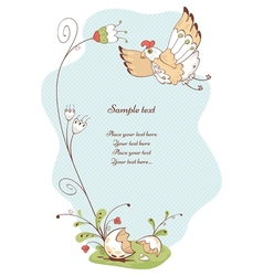 spring card with bird and flowers vector image vector image