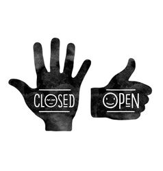 Stop hand closed and thumb up open vector