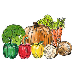 types of fresh vegetables still life vector image vector image
