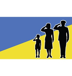 Ukraine soldier family salute vector