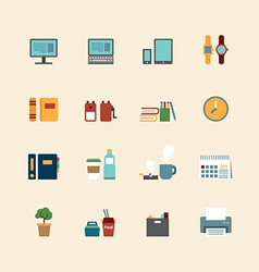 web flat icons set - business office tools vector image