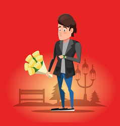 Young guy waiting for his girlfriend with flowers vector