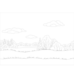 Seamless background woodland landscape contour vector