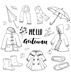 Autumn season clothes set Hand drawn doodles and vector image