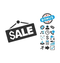 Sale signboard flat icon with bonus vector