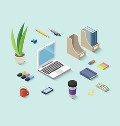 Set of isometric office items stationery icons vector