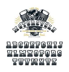 Decorative serif font in biker style vector