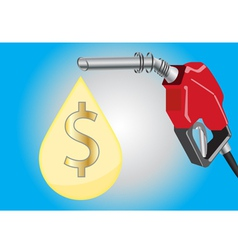 Fuel dispensers and oil drop with money symbol vector