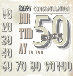 Happy birthday retro sign collection vector