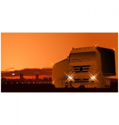 semi truck at sunset vector image