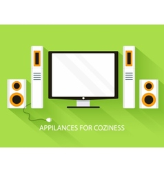 Flat media home theater background concept vector