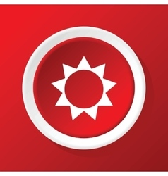 Sun icon on red vector