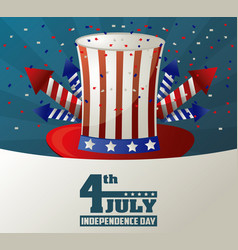 4th july independence day top hat fireworks vector image