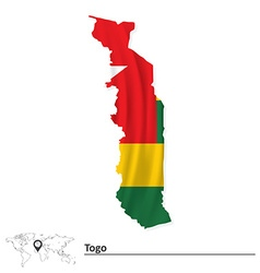 Map of togo with flag vector