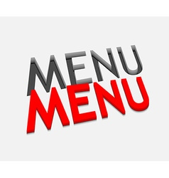 3d menu text design vector