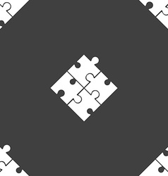 Puzzle piece icon sign seamless pattern on a gray vector