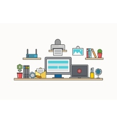 Modern thin line flat design of workplace vector